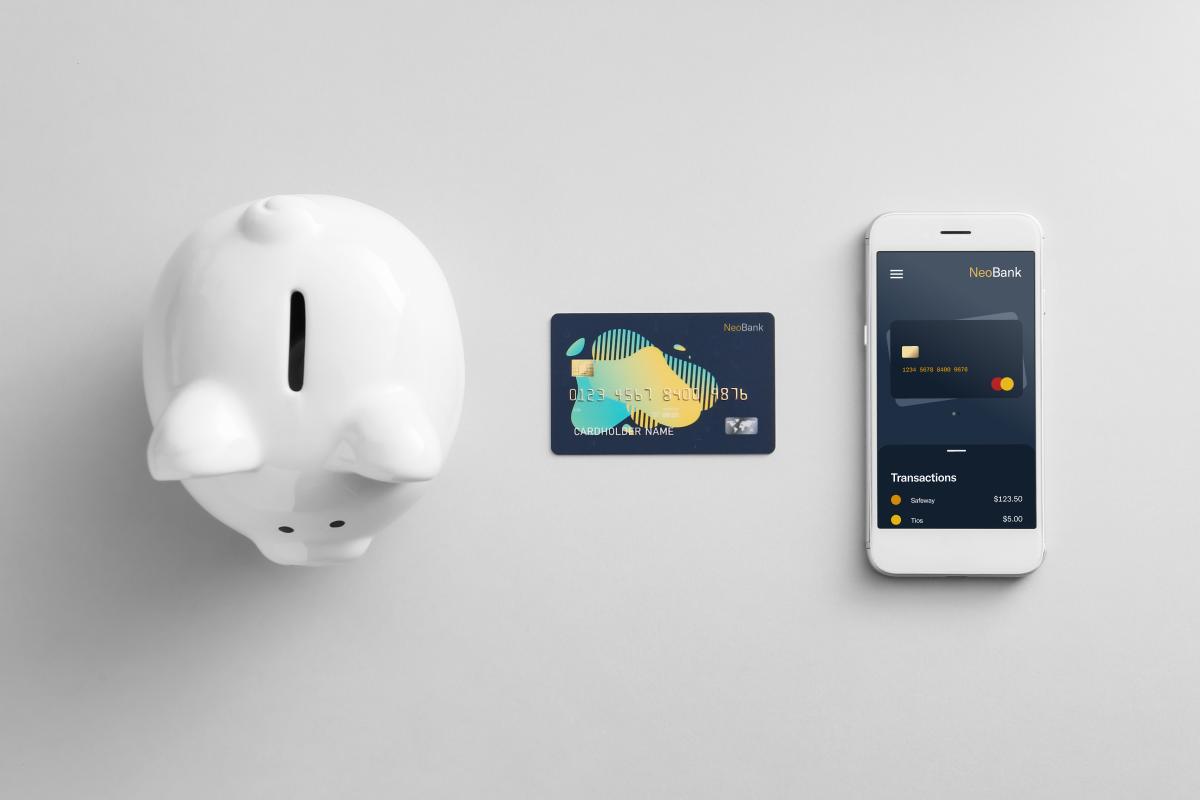Piggy bank, debit card, and neobank mobile application