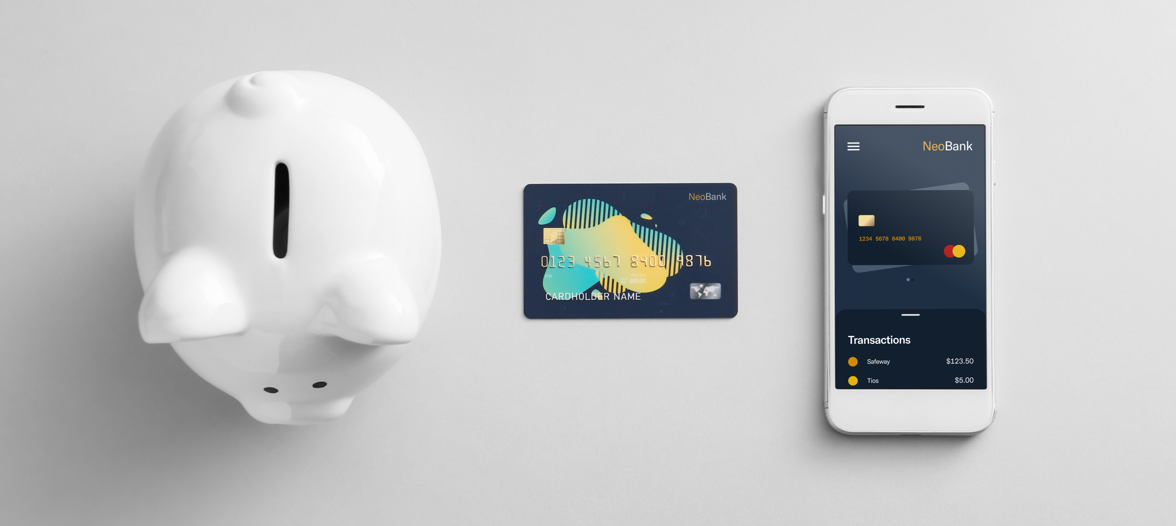 Piggy bank, debit card, and neobank mobile application