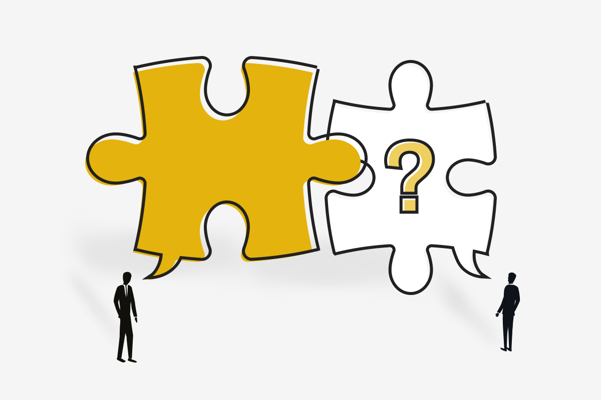 Fintech partner presents their answers, represented by a puzzle piece, to a prospective customer