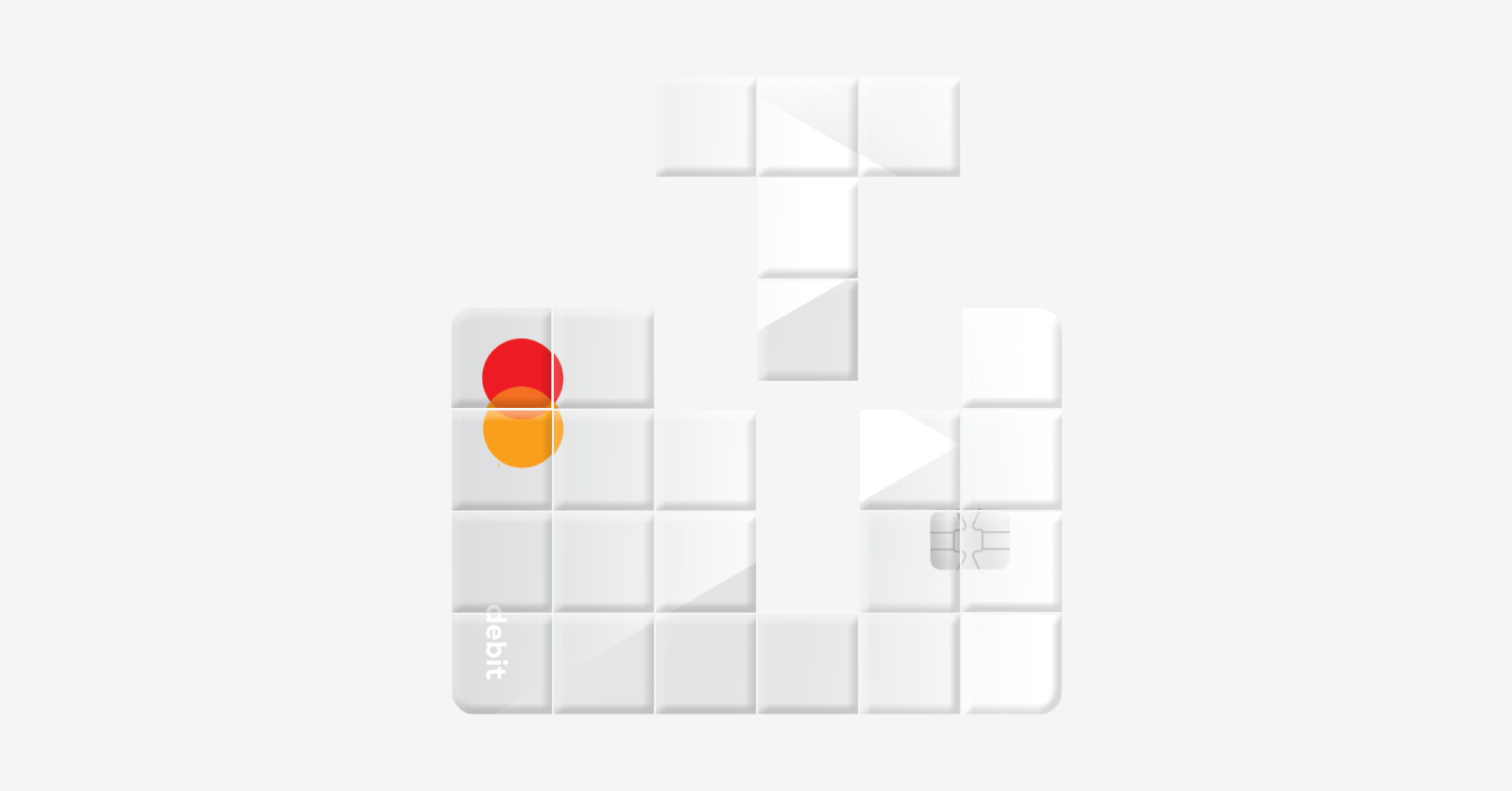 Pieces of a debit card falling into place like a game of tetris.