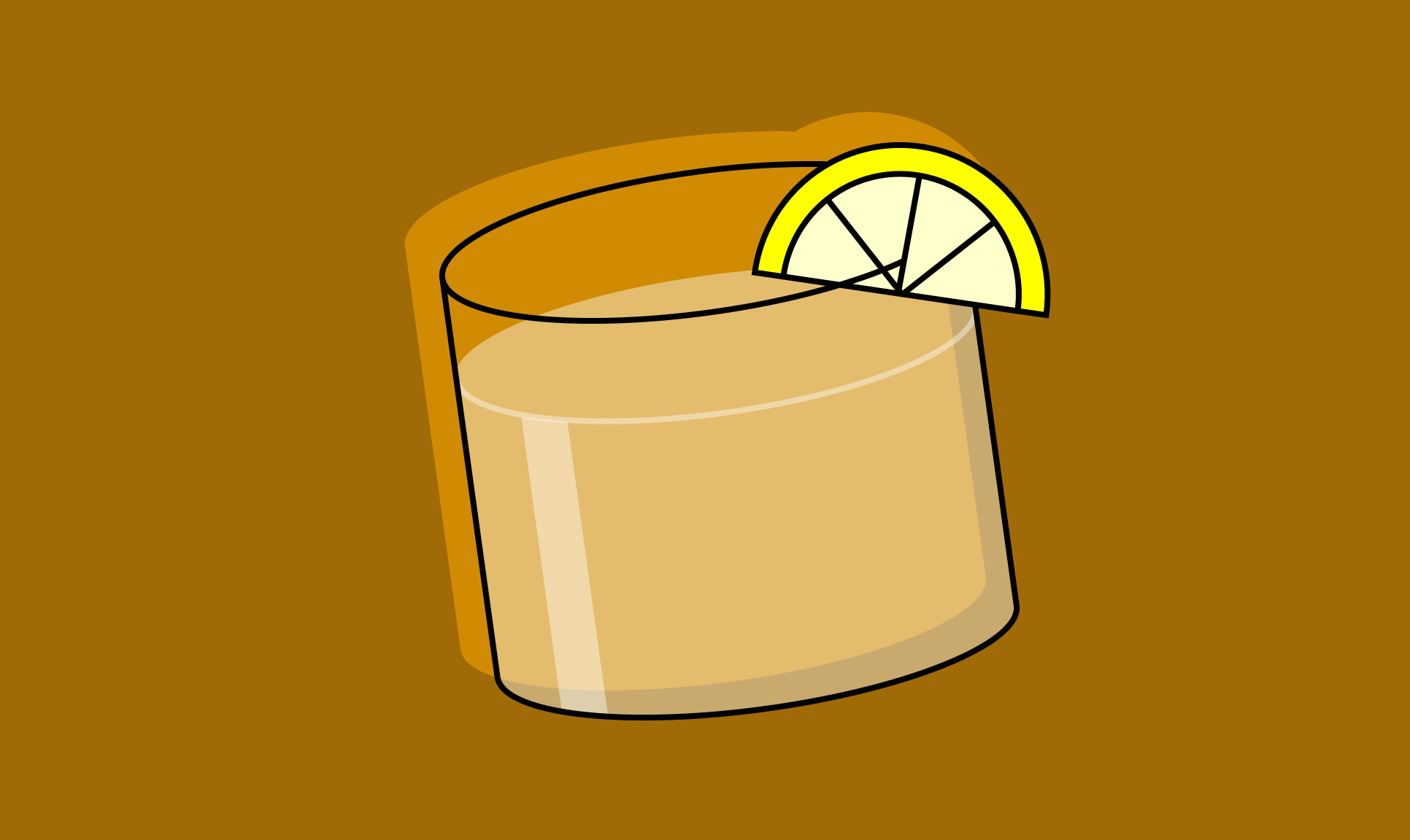 Illustration of a cocktail glass with a lemon wedge.