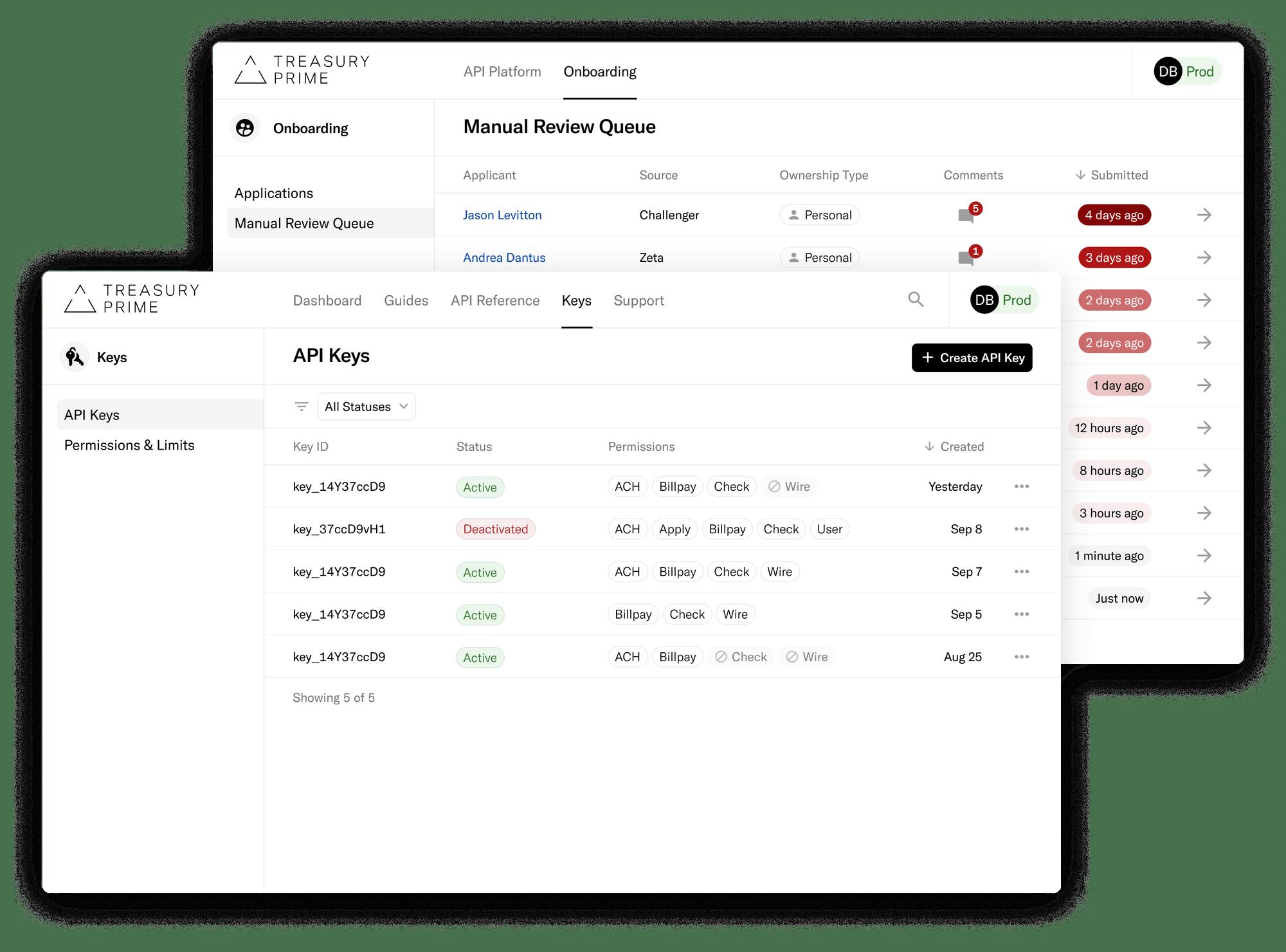Treasury Prime's Bank Console and Developer Dashboard interfaces.