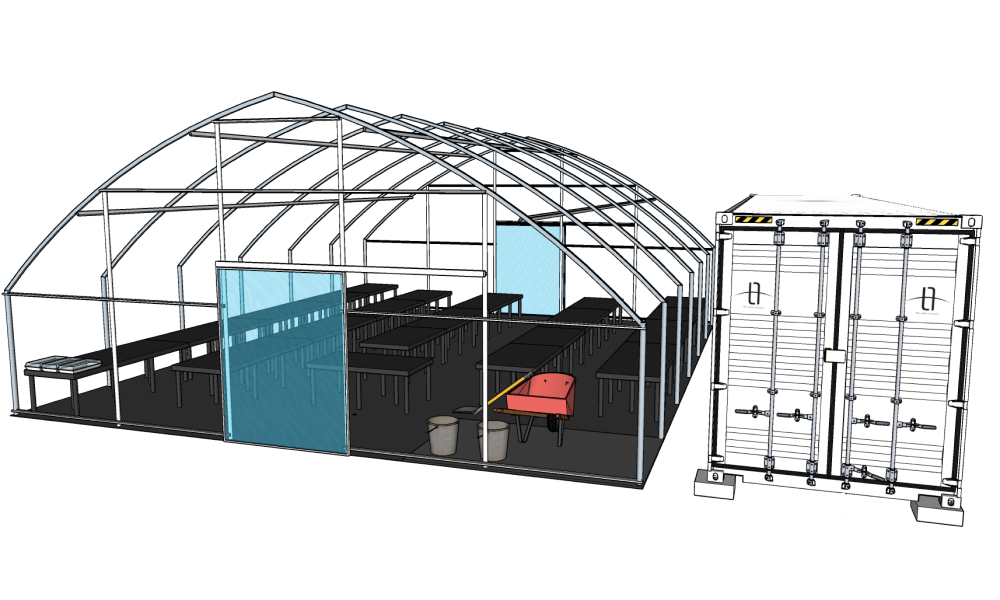 Illustration shows an open framed nursery standing next to a shipping container that was used to store and ship the components.