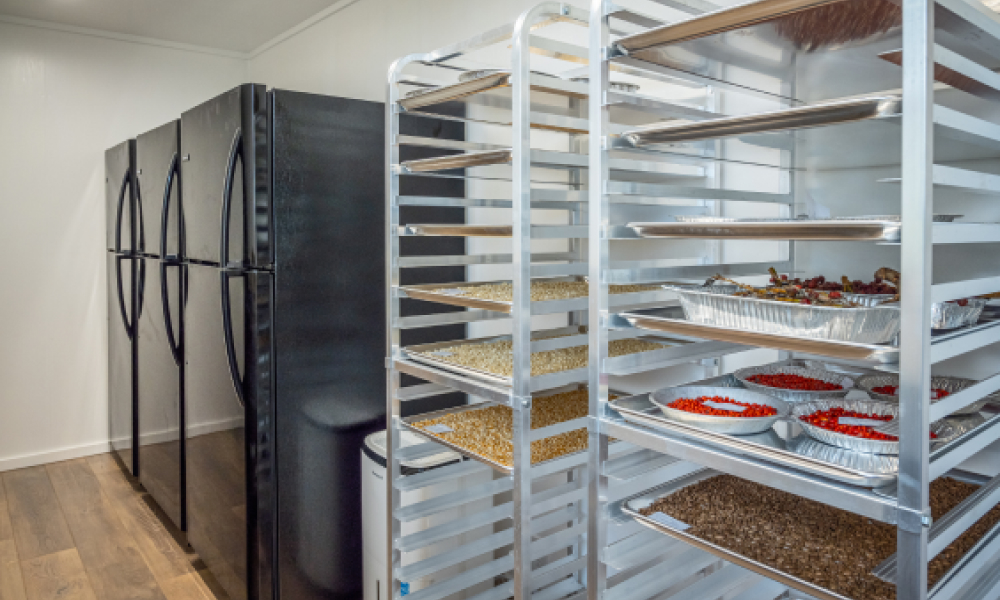 Two tall drying racks and two refrigerators stand against the wall of a small seed lab. The racks are filled with mutli-colored seeds.