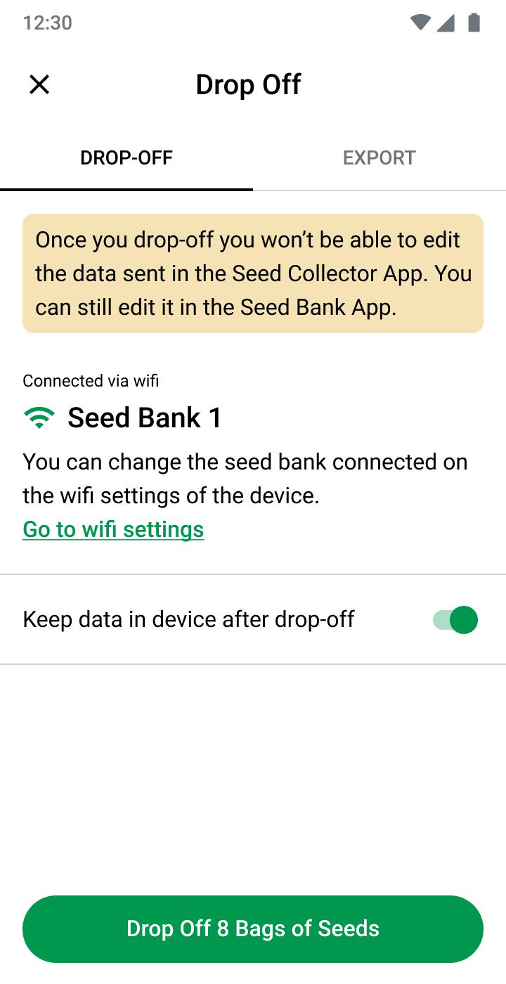 Seed drop off screen