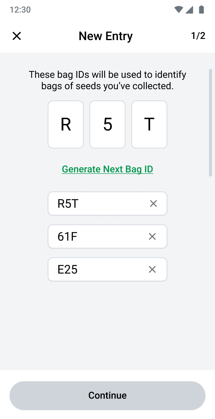 Seed collection bag ID screen