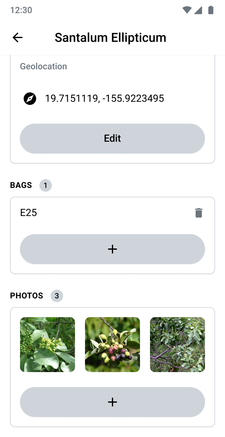 Seed Collector app seed entry screen