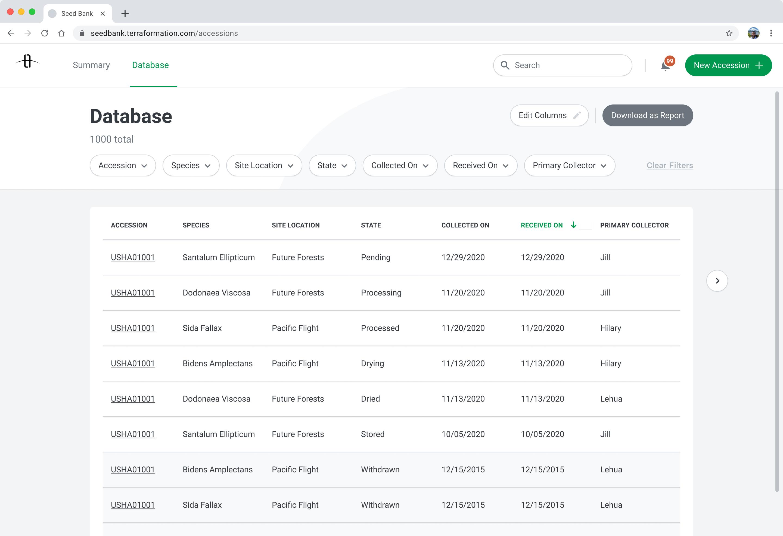 Seed Bank database screen