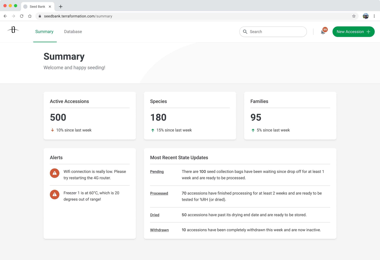 Seed Bank Summary screen