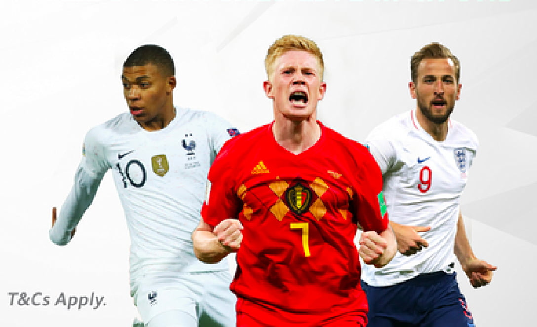 Football superstars Kevin De Bruyne, Harry Kane, and Kylian Mbappe in action showing the variety of world class athletes
