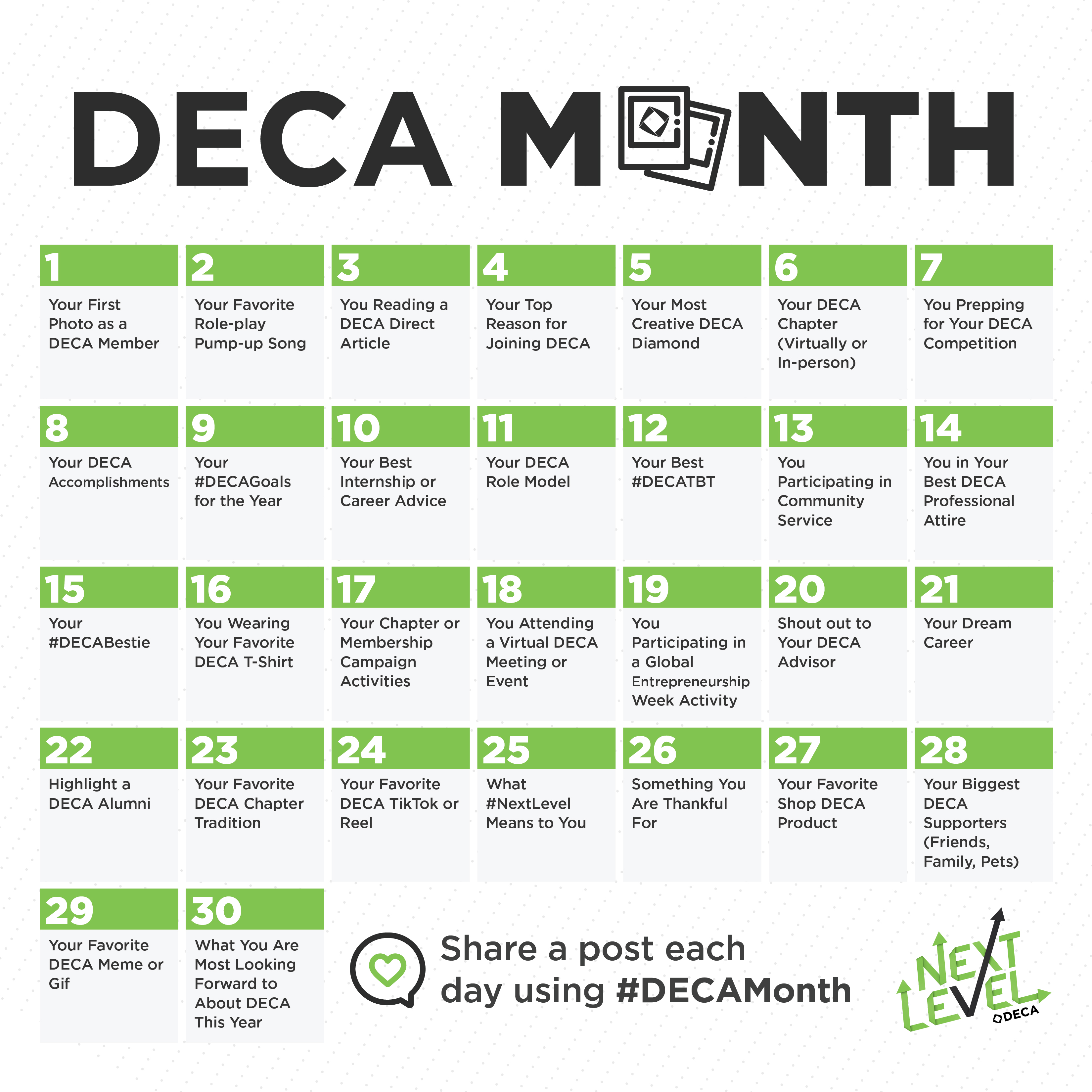 Deca Month 2020 Insta Calendar