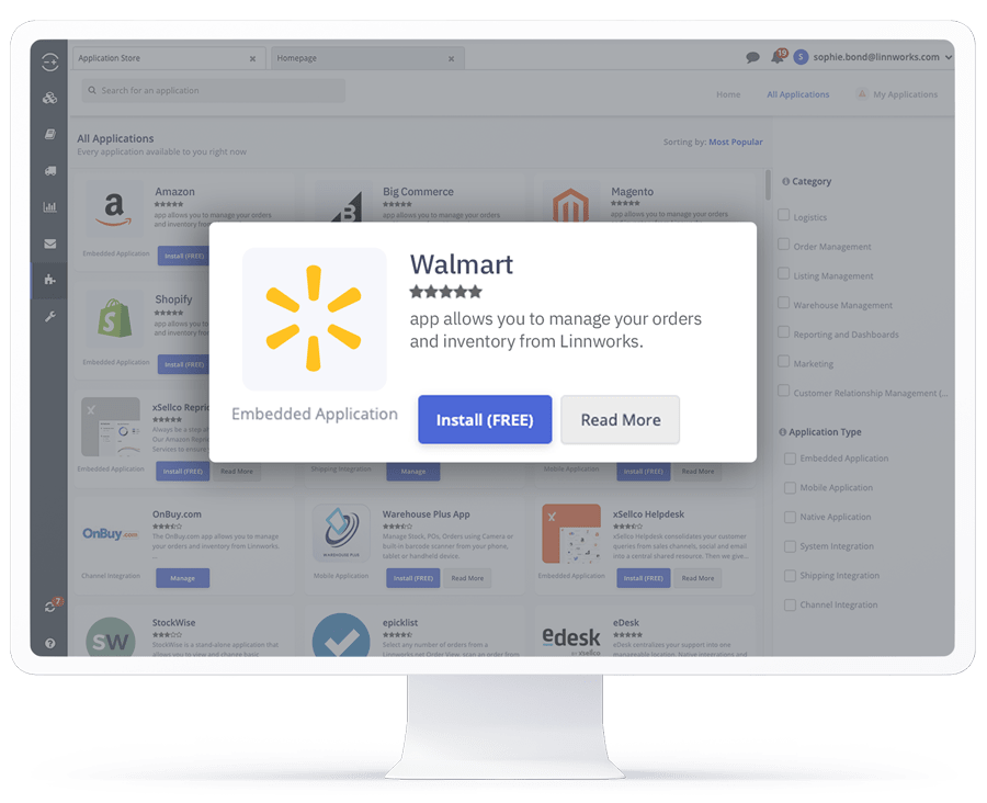 A computer showing the Walmart application in the Linnworks integrations store