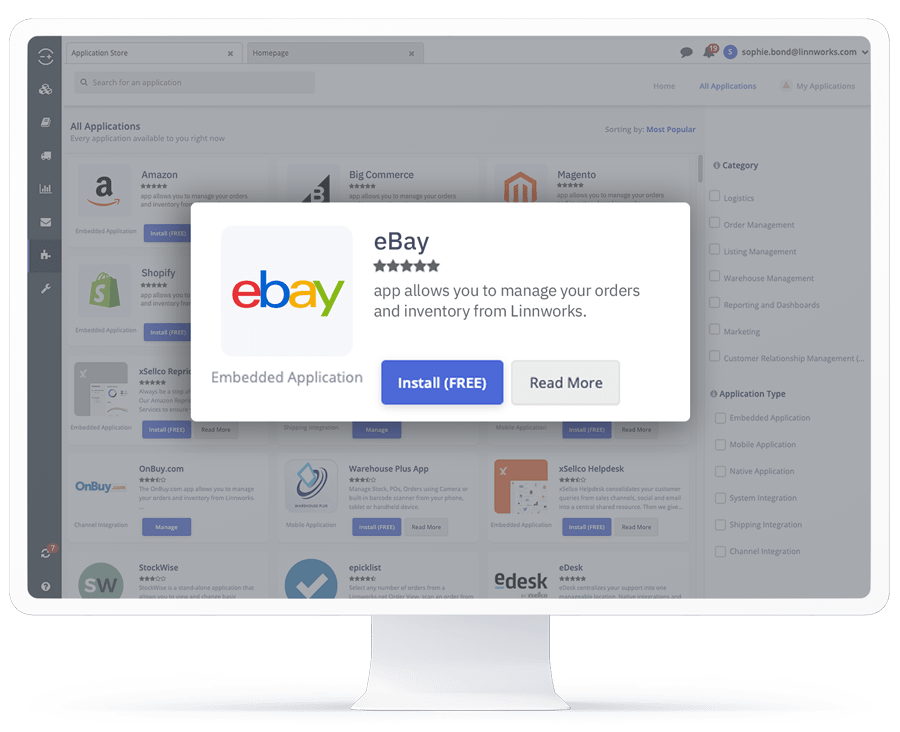 A computer showing the eBay application in the Linnworks integrations store