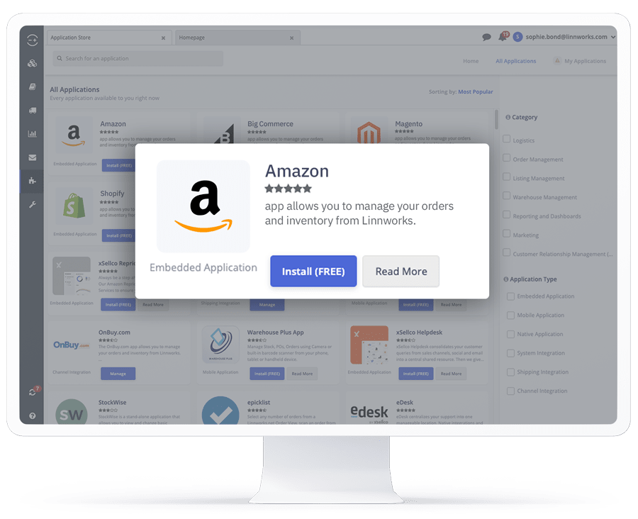 A computer showing the Amazon application in the Linnworks integrations store