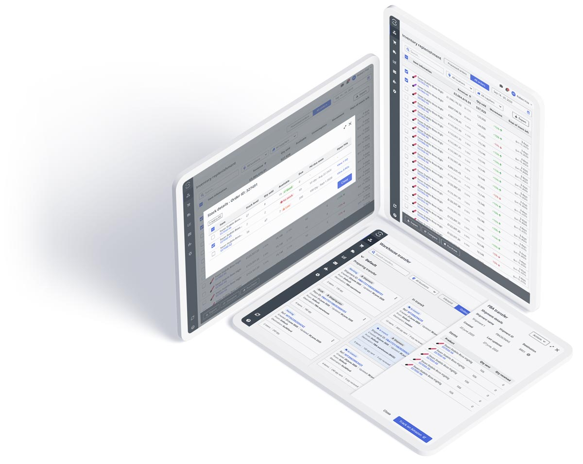 Three computer tablets showing the Linnworks inventory management tools