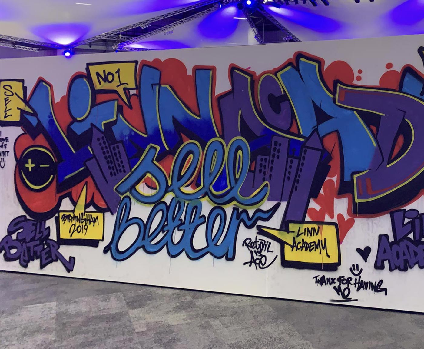 A graffiti wall from the LinnAcademy event