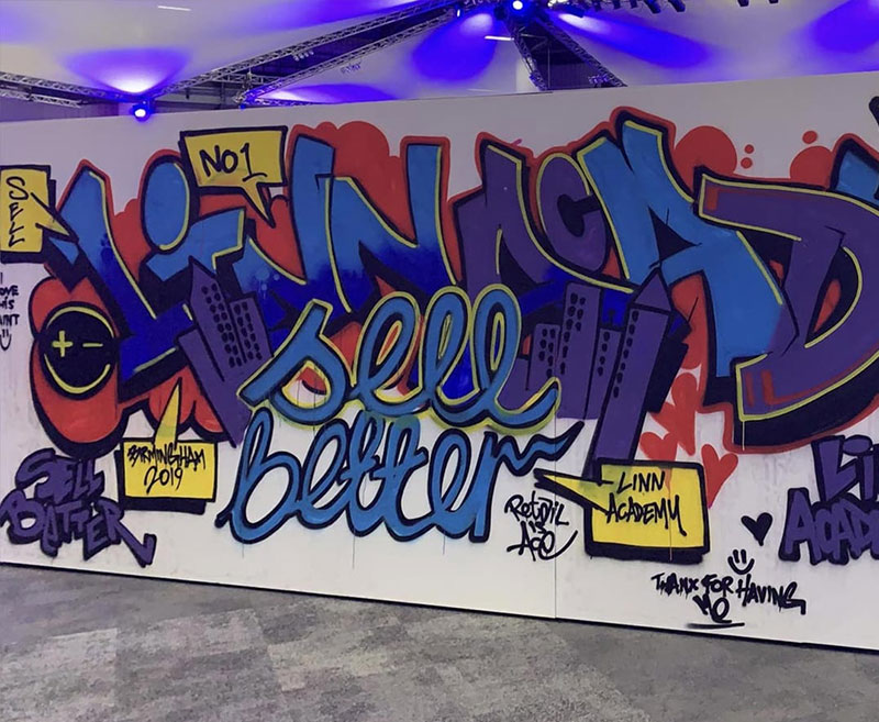A graffiti wall from the LinnAcademy event
