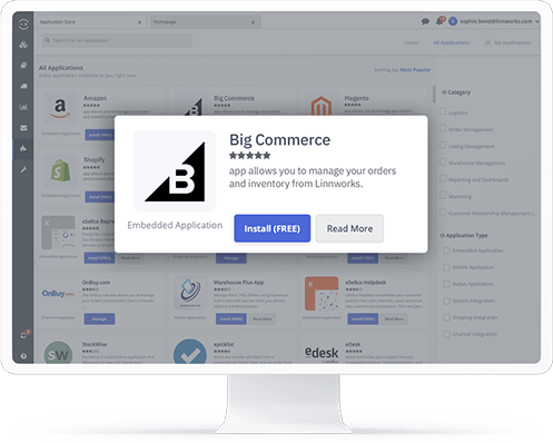 A computer showing the BigCommerce application in the Linnworks integrations store