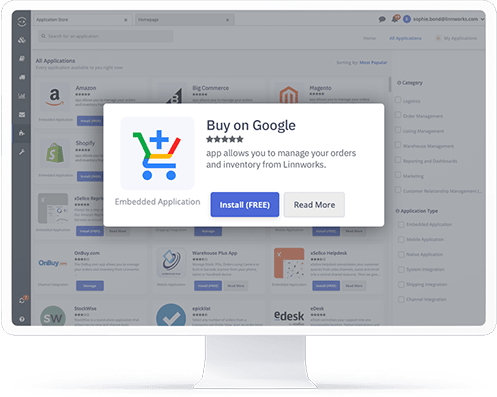 A computer showing the Buy on Google application in the Linnworks integrations store