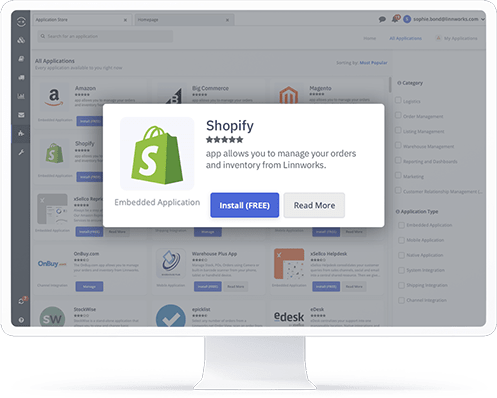 A computer showing the Shopify application in the Linnworks integrations store
