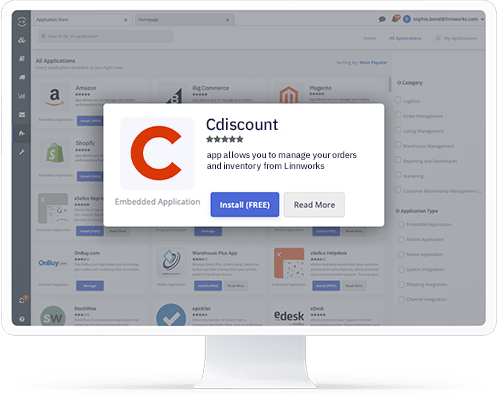 A computer showing the Cdiscount application in the Linnworks integrations store