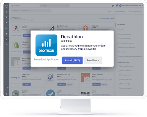 A computer showing the Decathlon application in the Linnworks integrations store