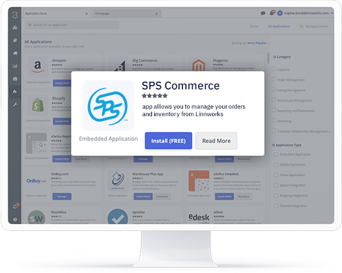 A computer showing the SPS Commerce application in the Linnworks integrations store