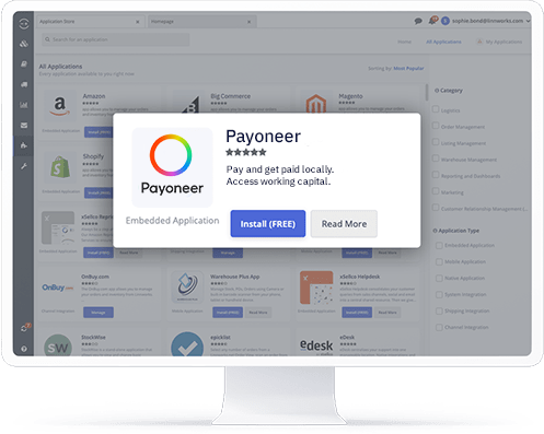 A computer showing the Payoneer application in the Linnworks integrations store