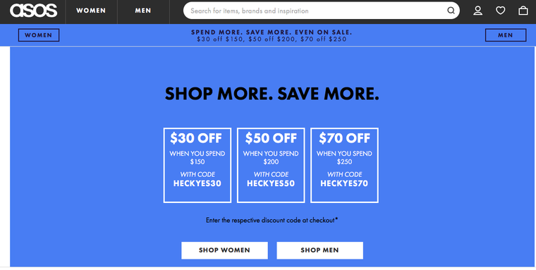 ASOS Spend and Save AOV
