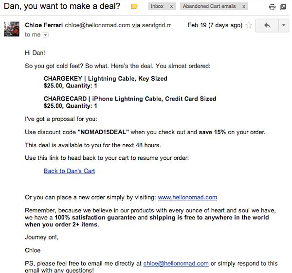 Abandoned Shopping Cart Email Example