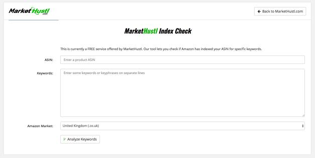 Market Hustl Index Checker - Amazon keyword research