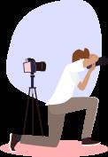 Un photographe vidéaste en pleine action