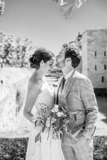Photographie d'un couple en noir et blanc
