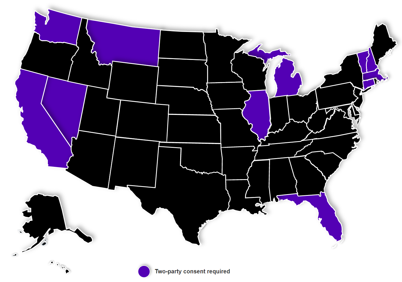 Map of the two-party consent states in the US.