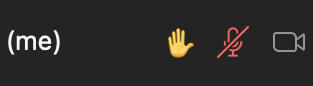 """On the participant listing, you """"Raised Hand"""" will be signified by the emoji hand."""