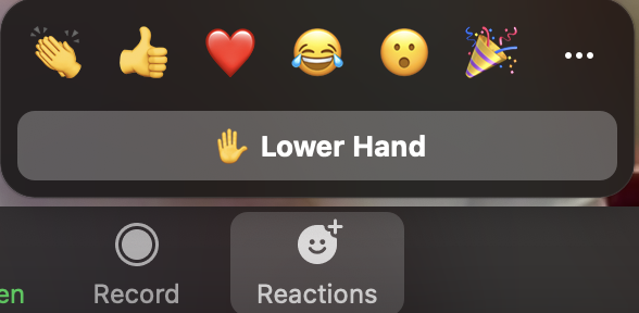 To lower your hand, return to the participant toolbar and click the same button.
