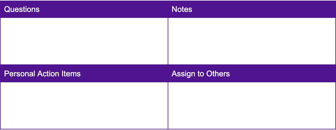 Quadrants note taking method template. How to take effective notes.