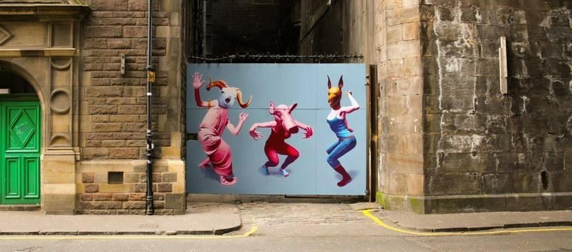 On the Bongo club gate, Kirsty Whiten's design depicts three surreal animals dancing