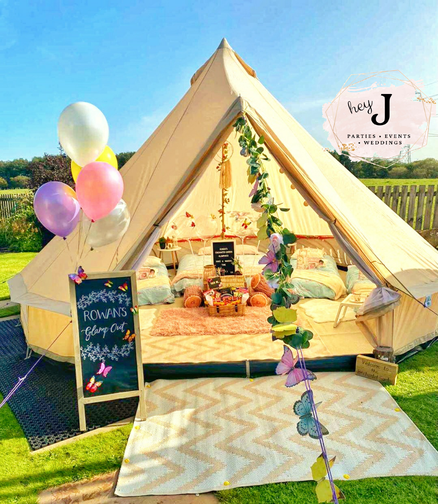Teepee with balloons outside