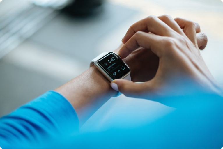 checking time on a smart watch