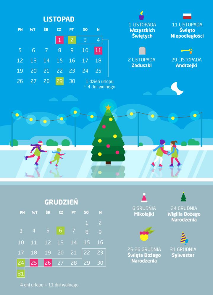 dni wolne listopad/grudzień 2018