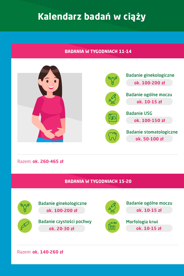 kalendarz badań w ciąży 11-14 tydzień