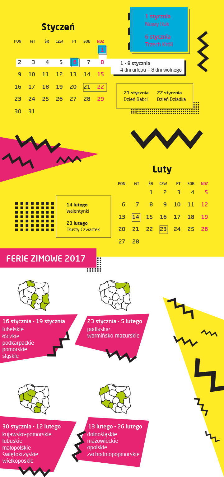 kalendarz świąt i dni wolnych 2017