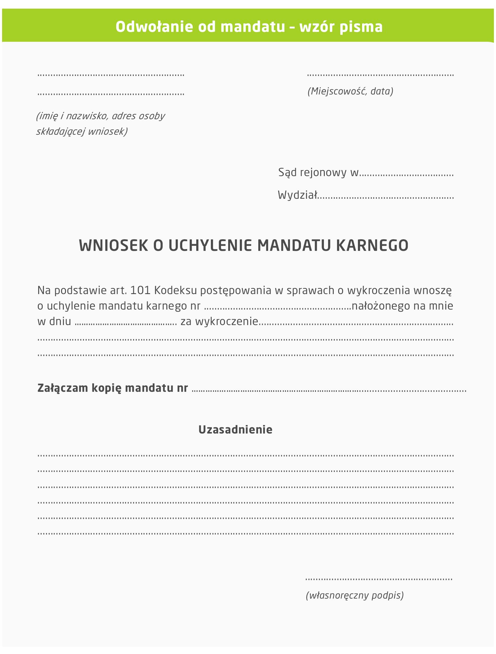 Odwołanie od mandatu - wzór pisma