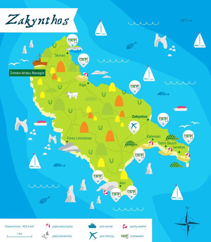 wyspy greckie zakynthos mapa