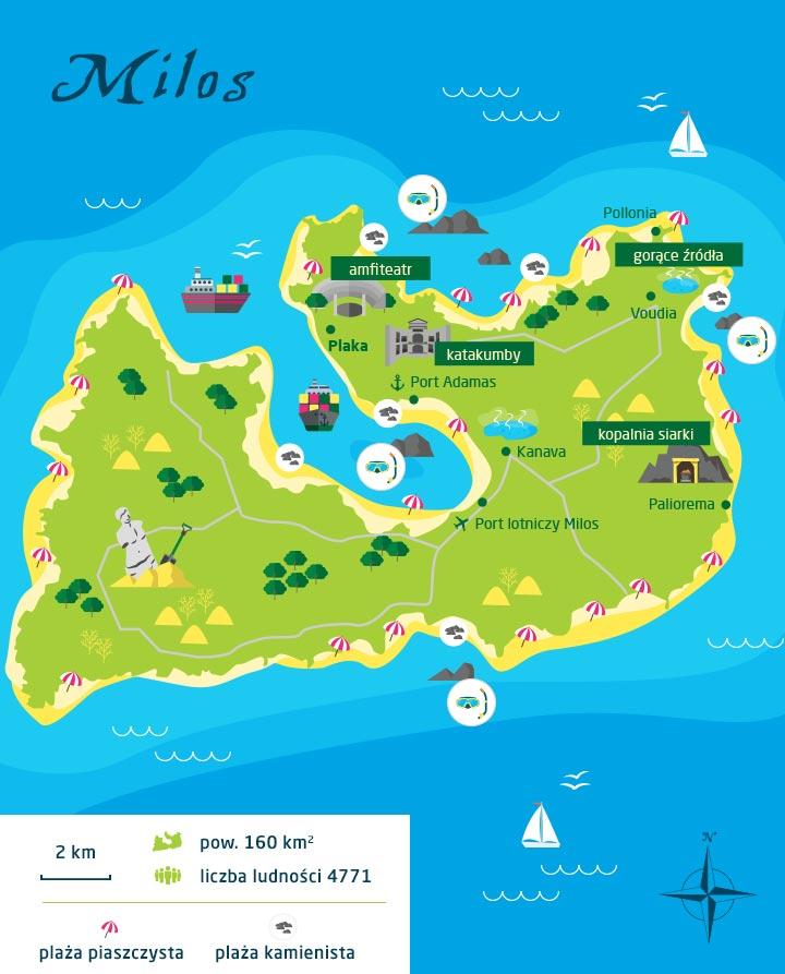wyspy greckie milos mapa