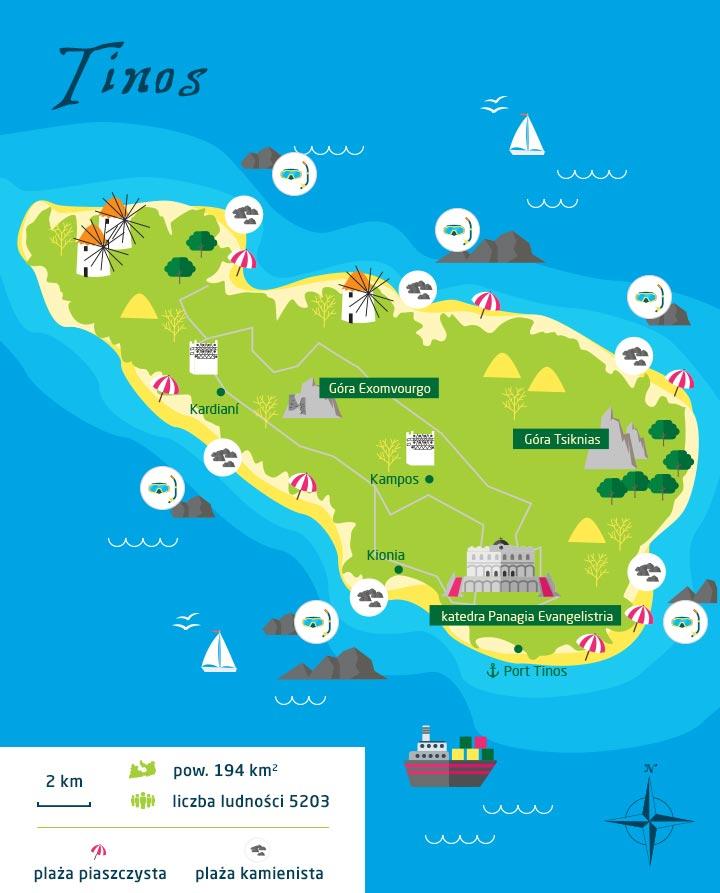 wyspy greckie tinos mapa