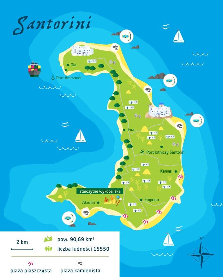 wyspy greckie santorini mapa