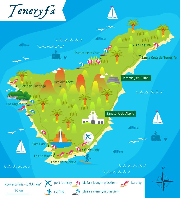 wyspy kanaryjskie teneryfa mapa