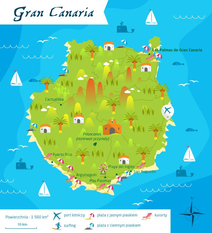 wyspy kanaryjskie gran canaria mapa